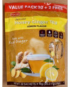 Pocas Tea - Honey Ginger Tea - Lemon Flavor - Value Pack - 24 bags (32 Sachets x 18g)