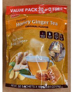 Pocas Tea - Honey Ginger Tea - Original Flavor - Value Pack - 24 bags (32 Sachets x 18g)